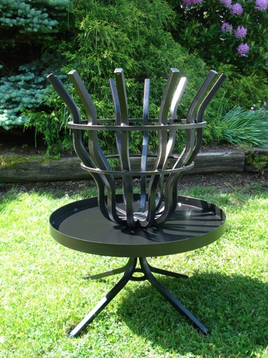 Tall fire pit shown assembled