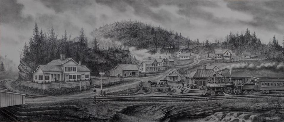 Drawing of East Litchfield, Connecticut circa 1880.